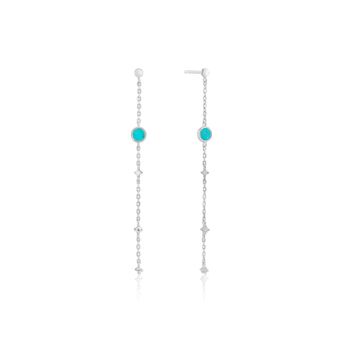 Rhodium Plated Sterling Silver Turquoise Drop Earrings