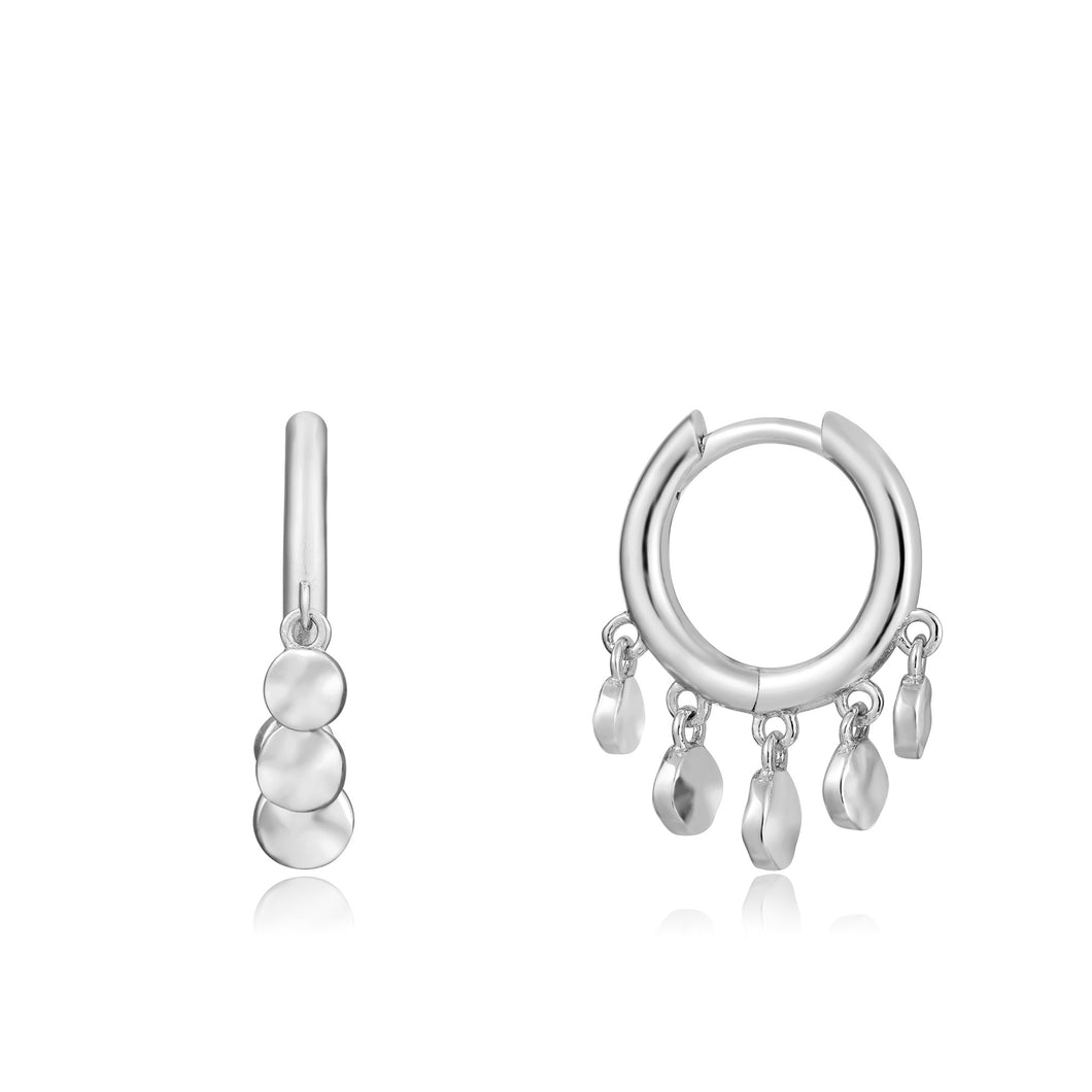 Ania Haie Rhodium Plated Sterling Silver Mini Disc Huggie Hoops