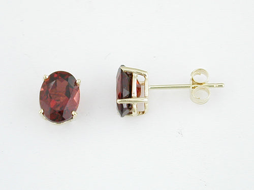 14K Yellow Gold 3.35 Ctw Oval Garnet Earrings with Friction Post