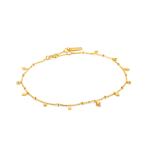 "Bohemia 9-10"" Anklet Sterling Silver with 14K Gold Plating"