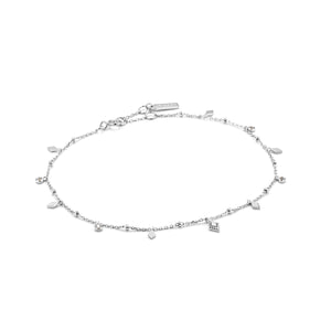 "Bohemia 9-10"" Anklet Sterling Silver with Rhodium Plating"
