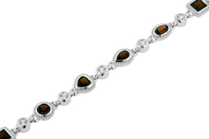 "6.75"" 7.75 Ctw Garnet and White Topaz Rhodium Plated Sterling Silver Bracelet"