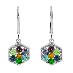 1.77 Ctw Multi Colored Gems set in a Octagon Shaped Sterling Silver setting with leverback