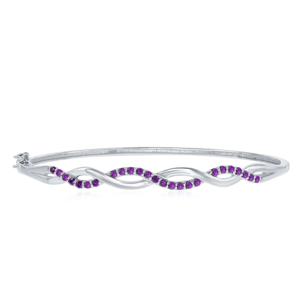 .58 Ctw Amethyst Rhodium Plated Sterling Silver Bangle with Hinged Clasp