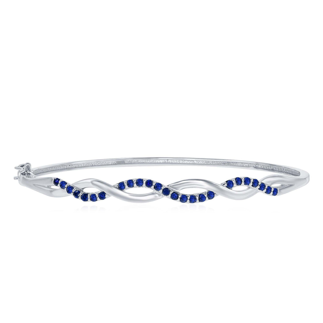 .72 Ctw Round Blue Topaz Rhodium Plated Sterling Silver Bangle with Hinged Clasp