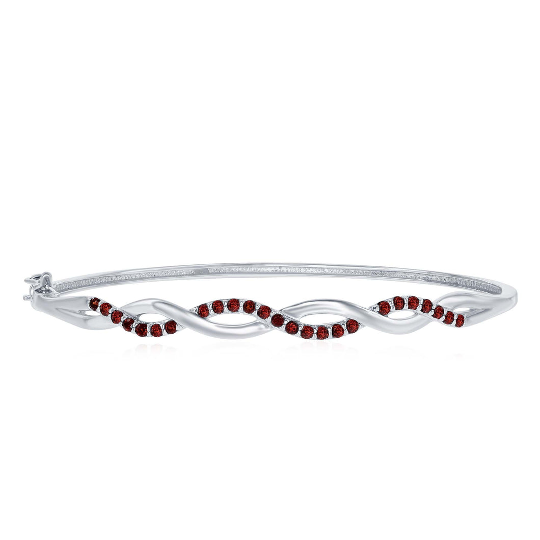 Benjamin Cohen .45 Ctw Round Garnets Rhodium Plated Sterling Silver Bangle