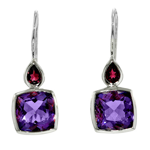 7.66 Ctw Cushion Cut Amethyst and Pear Shape Rhodolite Garnet Sterling Silver Earrings
