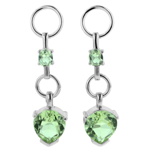 7.30 Ct Pear Shape Green Amethyst and Oval Cut Green Amethyst Dangle Earrings