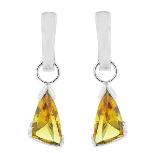 4.75 Ctw Fancy Cut Golden Citrine Sterling Silver Earrings