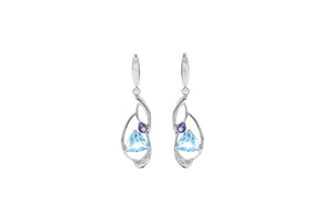 2.52 Ct Trillion Cut Blue Topaz, Iolite and White Topaz Sterling Silver Earrings