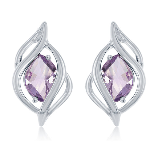 4.34 Ctw Marquise Shape Amethyst Sterling Silver Earrings with Friction Post