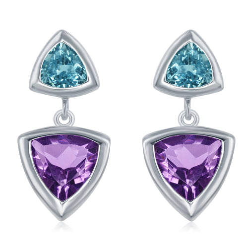 6.15 Ct Triangular Shape Amethyst and Blue Topaz Rhodium Plated Sterling Silver Earrings