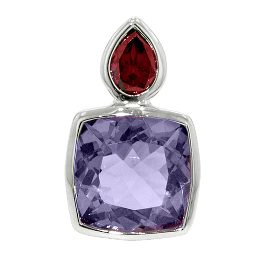 7.12 Ct Cushion Cut Amethyst and Pear Shape Rhodolite Garnet Sterling Silver Pendant