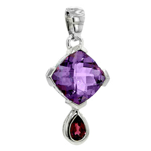 5.86 Ct Cushion Cut Amethyst and Pear Shape Rhodolite Sterling Silver Garnet
