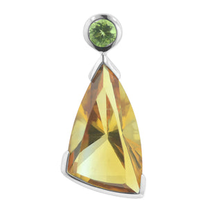7.20 Ct Fancy Cut Bezel Set Golden Citrine and Peridot Sterling Silver Pendant