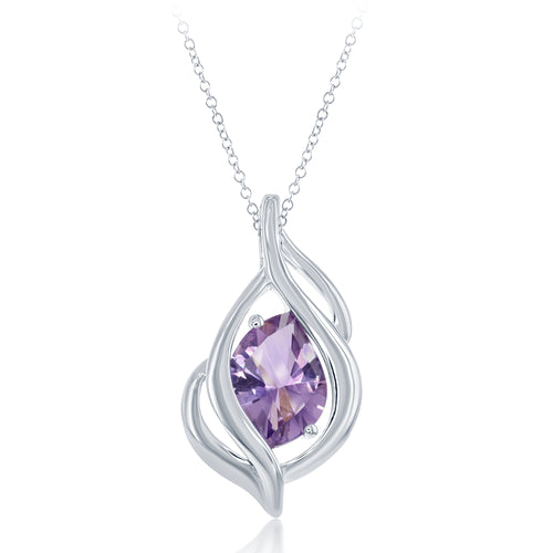 2.91 Ct Fancy Cut Amethyst Rhodium Plated Sterling Silver Pendant