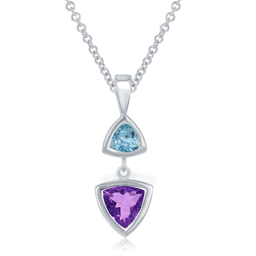 3.10 Ct Trianle Shaped Amethyst and Blue Topaz Rhodium Plated Sterling Silver Pendant