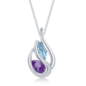 1.23 Ct Pear Shape Amethyst and Marquise Shape Blue Topaz in Tear Drop Shaped Rhodium Plated Sterling Silver Pendant