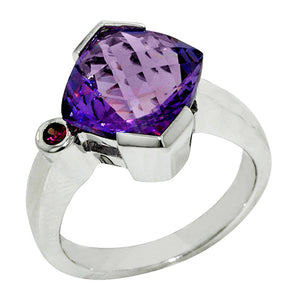 4.70 Ct Cushion Cut Amethyst with Garnet Accent Sterling Silver Ring