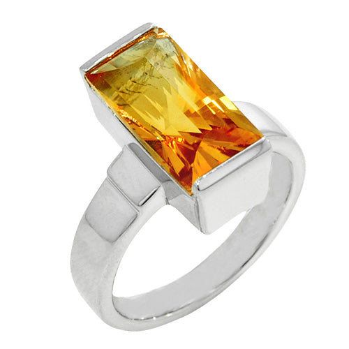 4.50 Ct Emerald Cut Golden Citrine Sterling Silver Ring