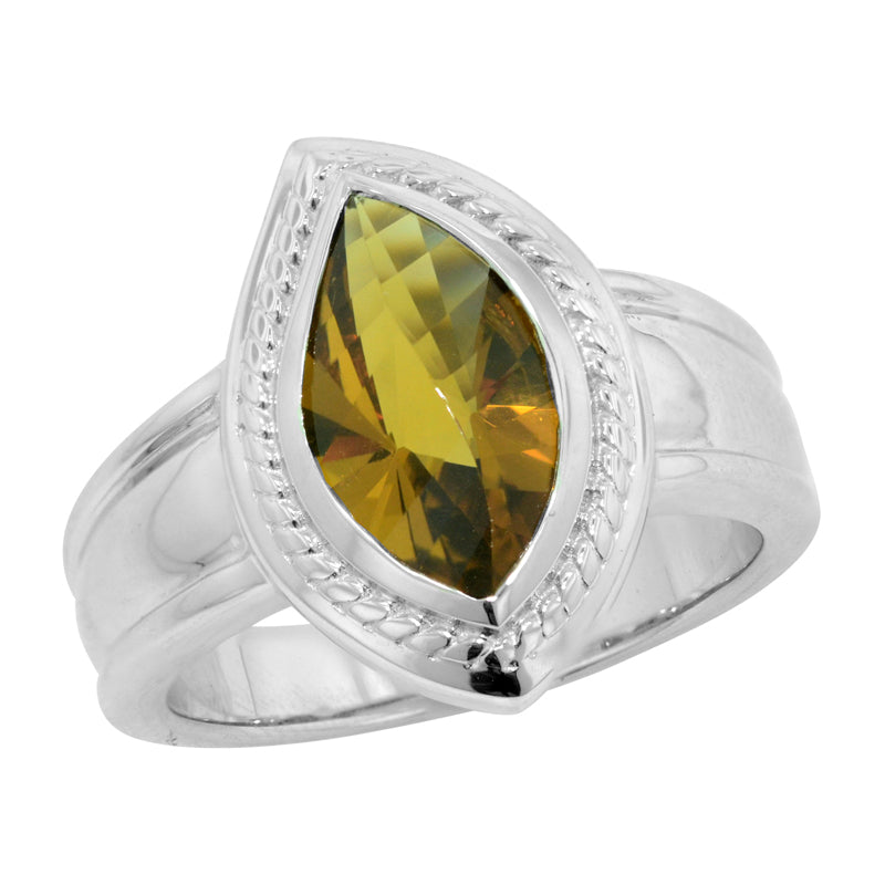 2.90 Ct Fancy Cut Cognac Quartz Sterling Silver Ring