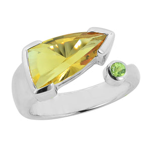 2.40 Ct Fancy Cut Golden Citrine and Peridot Sterling Silver Ring