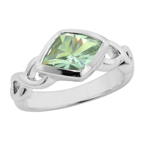 1.94 Ct Fancy Cut Green Amethyst Sterling Silver Ring with Infinity Symbol