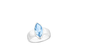3.2 Ct Marquise Shape Blue Topaz Bezel Set Rhodium Plated Sterling Silver Ring