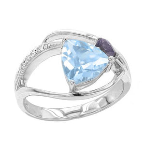 1.72 Ct Trillion Cut Blue Topaz with Iolite and White Topaz Accents Sterling Silver Ring