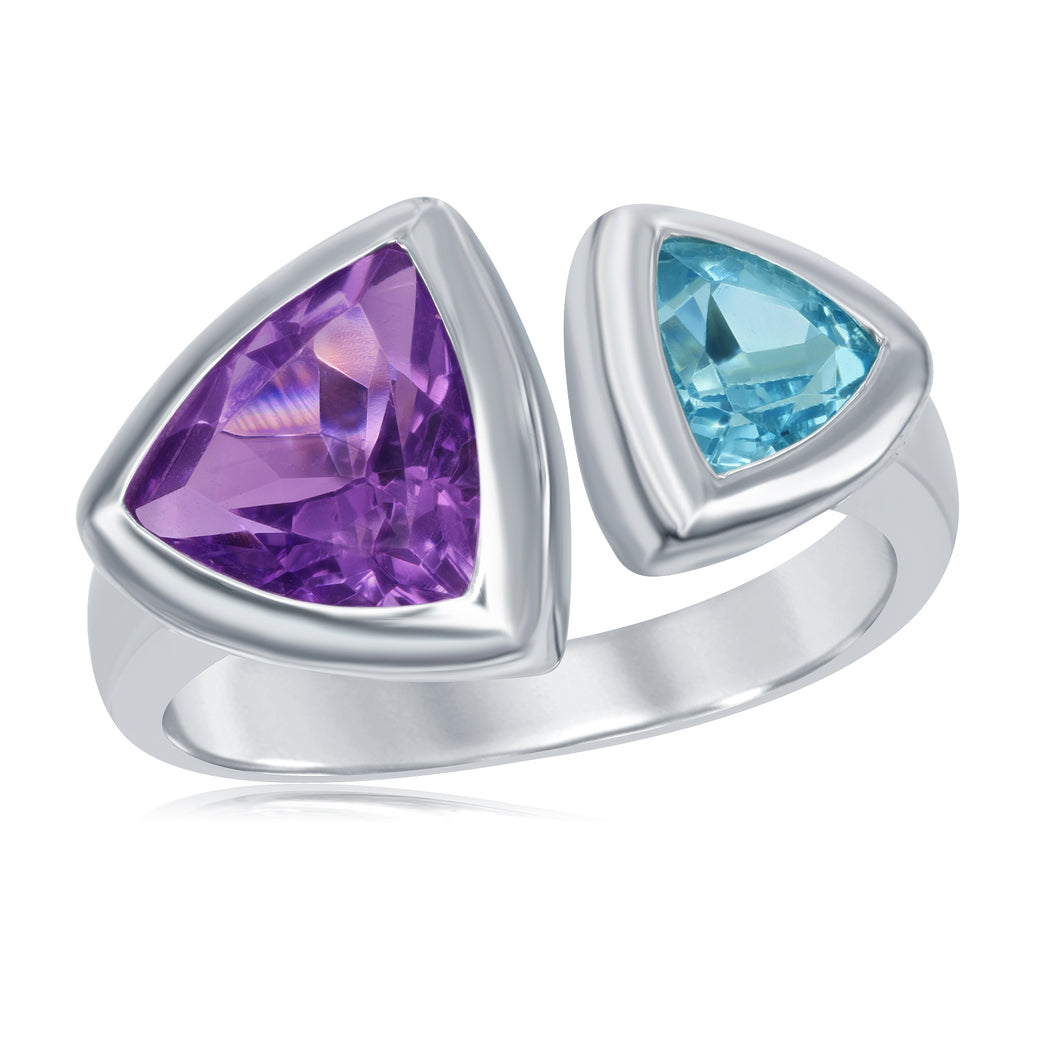 3.04 Ctw Triangular Amethyst and Blue Topaz Rhodium Plated Sterling Silver Split Ring