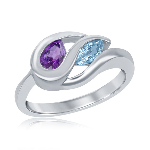 .63 Ctw Pear Shape Amethyst and Marquise Blue Topaz Sterling Silver Ring