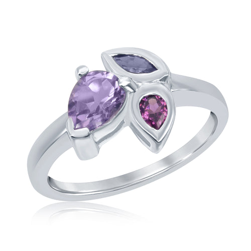 1.18 Ct Pear Shape Amethyst with Pear Shape Rhodolite and Marquise Iolite Accent Stones Sterling Silver Ring