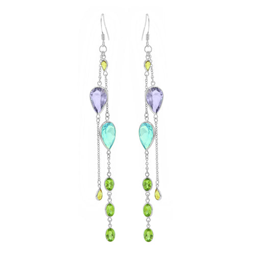 16.0 Ctw Multi Color Quartz Sterling Silver Dangle Earrings with Shepherds Hook