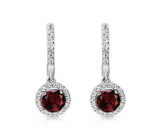 2.0 Ctw Round Garnet and White Topaz Halo Style Sterling Silver Earrings