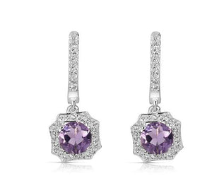 1.40 Ctw Round Amethyst Halo Style Sterling Silver Earrings