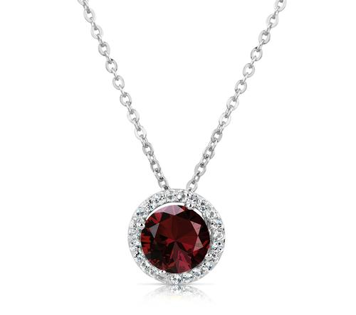 1.60 Ct Garnet and White Topaz Halo Style Sterling Silver Pendant With Chain