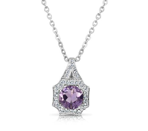 .70 Ct Round Amethyst And White Topaz Sterling Silver Necklace