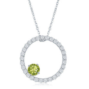 1.71 Ct Round Peridot and White Topaz Circle Pendant with Chain