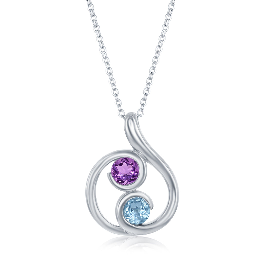 .74 Ct Round Amethyst and 1.06 Ct Blue Topaz Rhodium Plated Sterling Silver Swirl Pendant