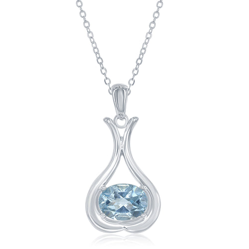1.27 Ct Oval Blue Topaz Rhodium Plated Sterling Silver Pendant
