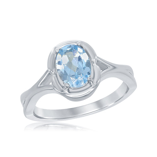 1.27 Ct Oval Blue Topaz Rhodium Plated Sterling Silver Ring