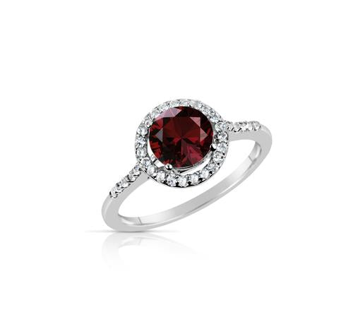 2.50 Ct Garnet and White Topaz Halo Style Sterling Silver Ring