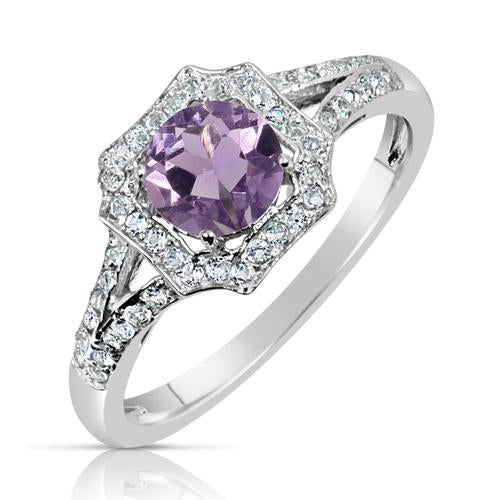 .70 Ct Amethyst and White Topaz Halo Style Sterling Silver Ring