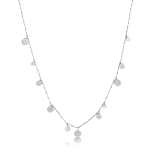 Ania Haie Rhodium Plated Sterling Silver Geometry Mixed Discs Necklace
