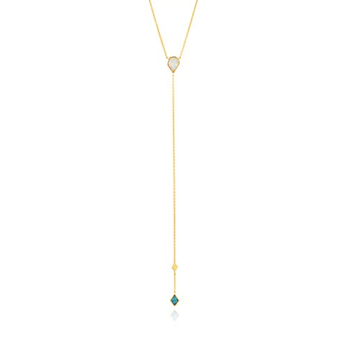 "Turquoise and Opal Color Y 19-21"" Necklace Sterling Silver with 14K Gold Plating"