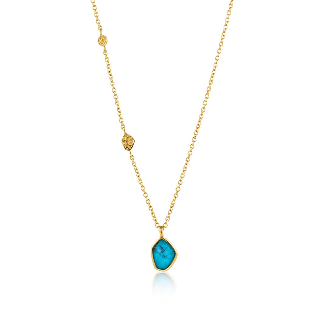 "Turquoise Pendant 18-20"" Necklace Sterling Silver Necklace with 14K Gold Plating"