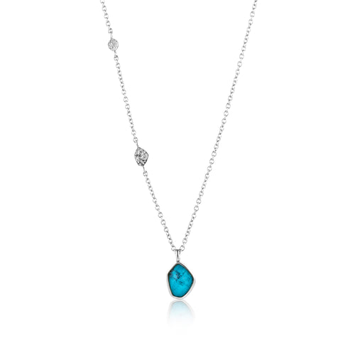 "Turquoise Pendant 18-20"" Necklace Sterling Silver Necklace with Rhodium Plating"