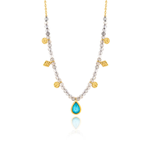 "Turquoise Labradorite 13-15"" Necklace Sterling Silver with 14K Gold Plating"