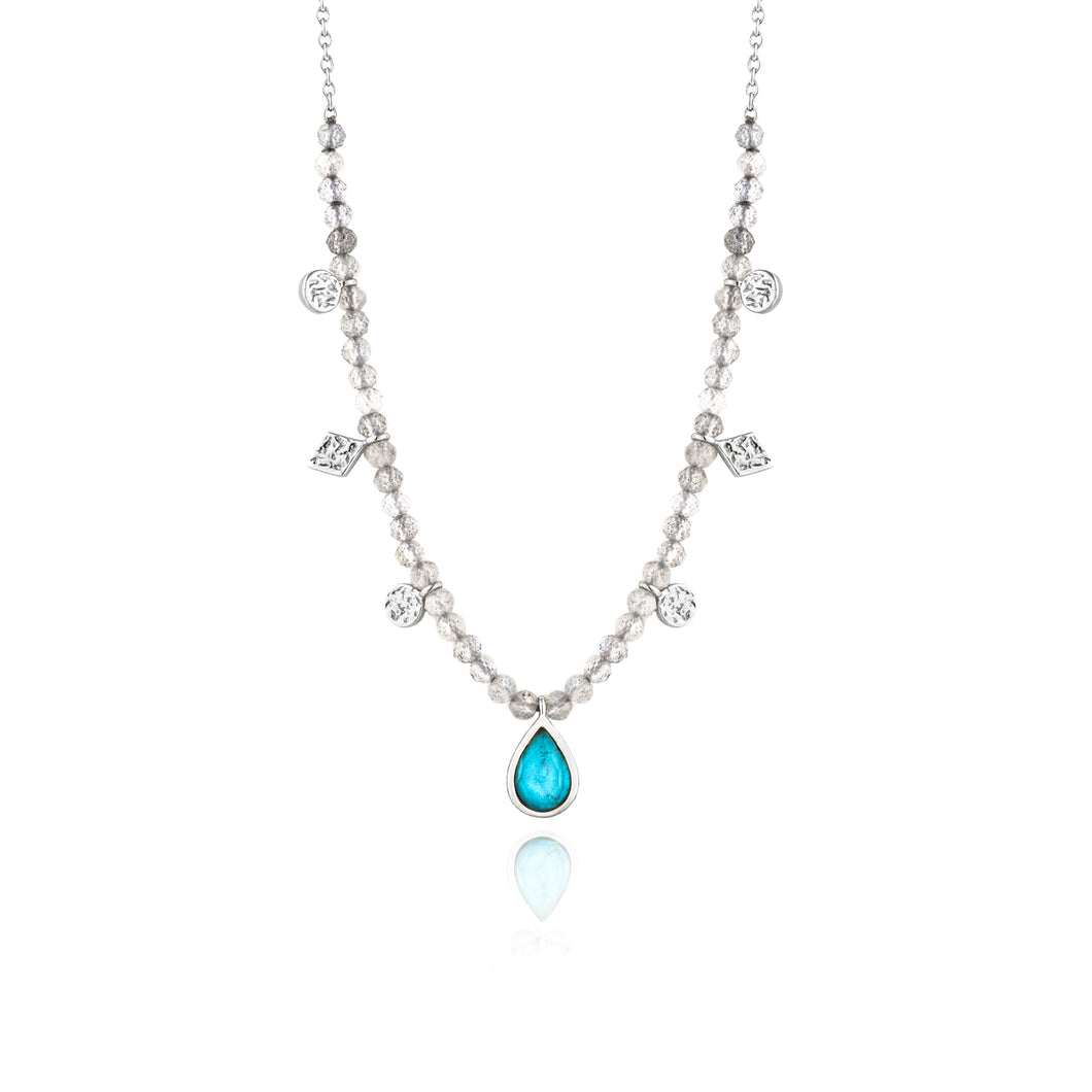 "Turquoise Labradorite 13-15"" Necklace Sterling Silver with Rhodium Plating"