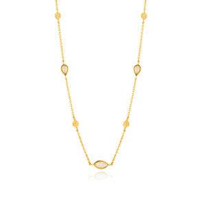 "Opal Color 13-15"" Necklace Sterling Silver with 14K Gold Plating"